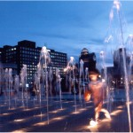 Louisville Waterfront Park Fountain with Kid