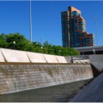 Louisville Waterfront Park Waterfall with Building